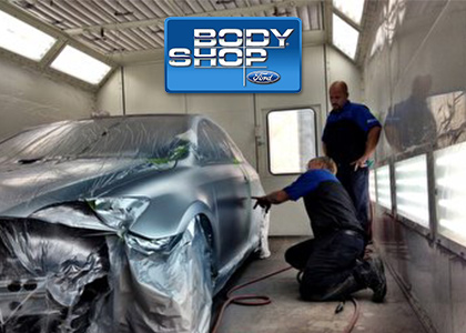 Inside the body shop at Shawnee Mission Ford in Kansas City