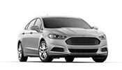 New 4 door Silver Ford Fusion sedan